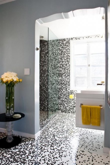 creative-and-unique-design-bathroom-of-black-and-white-mosaic-tile-unusual-bathroom-design-ideas-438x657
