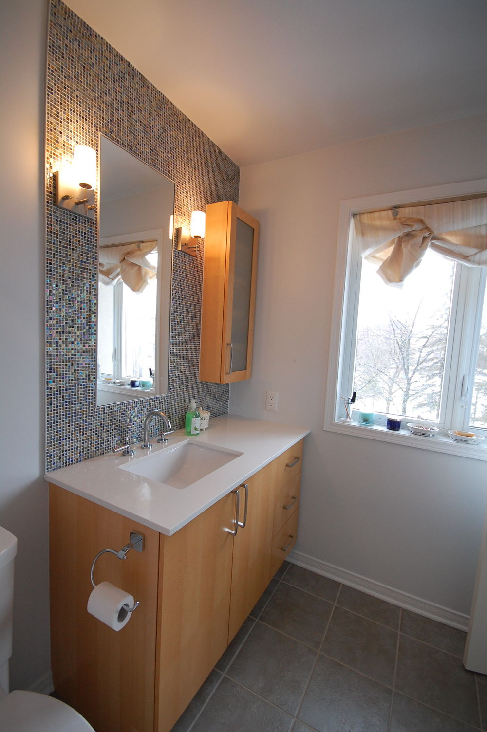 Bathroom sink mosaic tile kitchens and bathrooms first for First bathrooms